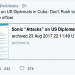 "WikiLeaks‏ : Sonic ""Attacks"" on US Diplomats in Cuba"